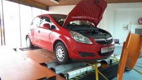 Chiptuning a měření výkonu na válcové zkušebně vozu Opel Corsa 1.0i