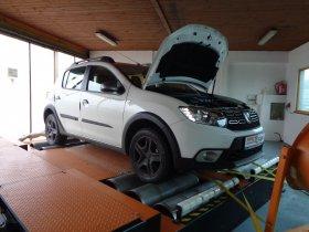 Chiptuning a měření na válcové zkušebně vozu Dacia Sandero Stepway 0.9 TCe