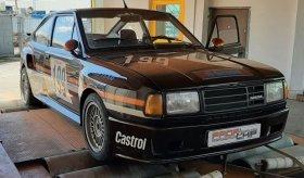 Měření na válcové zkušebně po úpravě výkonu závodního speciálu Škoda Rapid 130 z roku 1988.