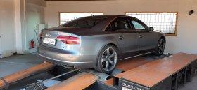 Úprava výkonu včetně měření na válcové zkušebně vozu Audi A8 3.0 TDI - 193 kW